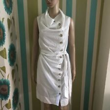 All Saints Lorelei button Shirt dress White Cowl Neck 8 Sleeveless.