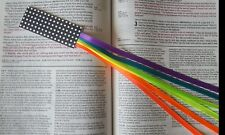 NEON RAINBOW multi page bookmark ribbons for Bible, hardcover books handmade