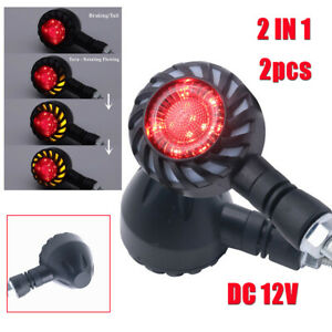 2x Motorcycle LED Flowing Rotating Sequential Turn Signal Light Brake Tail Lamps