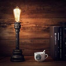 Vintage Industrial Style Metal Pipe Table Desk Lamp Light Free Edison Bulb