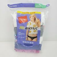 Hanes Womens Bikinis 100% Cotton Panties 10 Pack Size 7 Various Colors Tagless