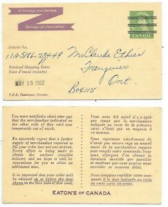 Eaton's of Canada Advertising on a Postal Stationary Post Card Webb's #P227a