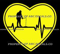 VRS Heartbeat Heart FISHING FISH ICE ANGLER PICK HOOK REEL ROD CAR VINYL DECAL