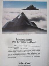 1/1992 PUB LOCKHEED F-117A STEALTH FIGHTER US AIR FORCE ORIGINAL AD