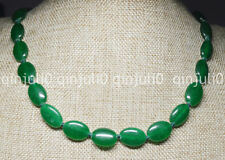 Natural 13x18mm Green Emerald Oval Gemstone Beads Necklace 18 inches JN763