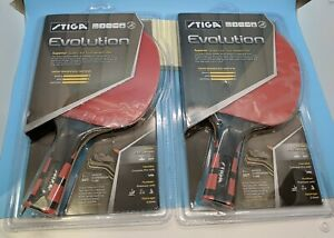 Pair of STIGA EVOLUTION Premium Ping Pong Table Tennis Paddle Rackets NEW