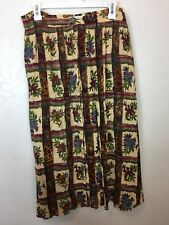 We Be Bop Plus Size 3X Pull On Button Up Floral Tan Red Crinkle Midi Skirt