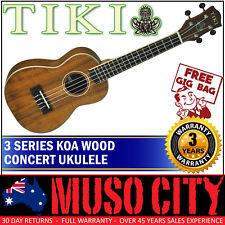 New Tiki Koa Wood Concert Ukulele with Gig Bag (Natural Satin)