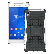 For Sony Xperia Z5 White Heavy Duty Strong Tradesman TPU Hard Case Cover Stand