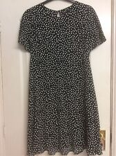 Ladies Marks And Spencer Dress Size 16 Short Black With White Spots New No Tag