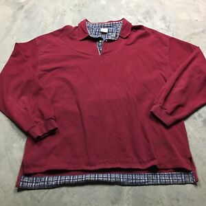 STRUCTURE POLO RUGBY SHIRT XL 90s VTG Plaid Flannel Maroon VAPORWAVE Skate Plain