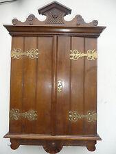 Antique Victorian Wodden Wall Medcine Cabinet Brass Ornaments