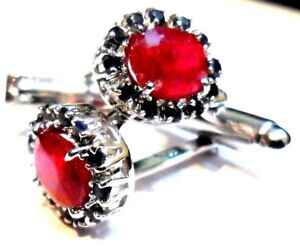 New 925 Sterling Silver Fine Quality Natural  Ruby & Natural Sapphire Cuff link