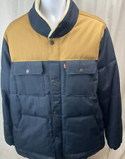 Levi's NEW Blue Mens Size 2XL Mixed Media Quilted Winter Warm Jacket $200