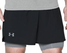 Under Armour Qualifier 2 in 1 Mens Running Shorts Black Grey Heatgear Short