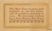 1908 Arts & Crafts Saying New Years postcard 3426