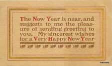 1908 Arts & Crafts Saying New Years postcard 3426