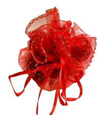 10 Bright Red Voile Round Favour Wraps With Sparkly Iridescent Dots App 29Cm