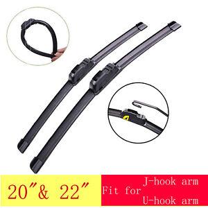 2pcs Car Wiper blades J/U-hook Soft Rubber Frameless for FORD MUSTANG 2005-2011