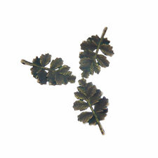 Green Bronze Tone Leaf Branch Alloy Pendants Charms Craft Finding 20pcs 52013