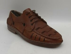 Men's RIEKER Size 7 UK 41 EU xtra Width Brown Leather Sandals/Loafers Laced EUC