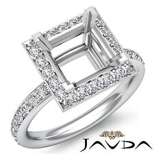 Princess Semi Mount Diamond Engagement Halo Pave Set 0.55Ct Ring 14k White Gold