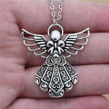 Simple Vintage Antique Silver Color Guardian Angel Pendant Lucky Necklace
