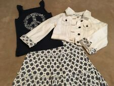 Crazy 8 Girl's Peace Tank Top, Skirt & Ivory Cropped Jean Jacket, Size S (5/6)