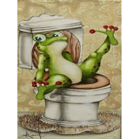 5D Toilet Frog Diamond Painting Full Drill Crafts Kits Embroidery Home Art Decor