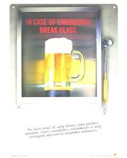 Funny Beer Sign In Case of Emergency Break Glass Bar Liquor Metal Sign CLEARANCE