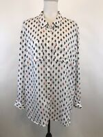 Charter Club Size XXL White Navy Red Linen Button Down Long Sleeve Top