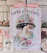 """Shabby Chic Vintage Country Cottage style Wall Decor Sign """"Cafes & Legumes..."""""""