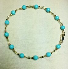 14k solid yellow gold  natural Arizona Turquoise 7'' bracelet lobster claw
