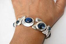 New Brighton Versailles Neptune Silver Brushed Blue Crystal Cabochon Bracelet