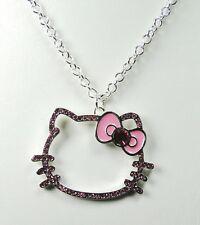 Pendentif Hello Kitty chaîne grand modèle nœud rose