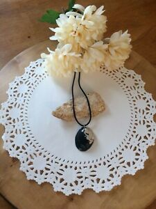 "Natural Black Abalone Shell on 18"" Black Satin Cord Necklace  NEW Handcrafted"