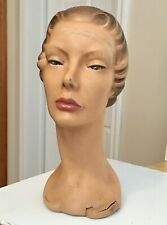 1940's-50's Art-Deco Lady Mannequin Head Store Display Paster Original+Beauty!