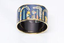 HERMES Les Cannes Extra Wide Gold Plated Blue Enamel Bangle Bracelet