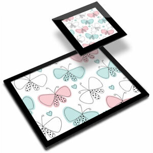 Glass Placemat  & Coaster - Pretty Butterfly Pattern Pink Green  #46195