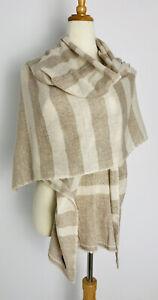 Cashmere Shawl Beige Tan Striped Wrap Scarf Warm Lightweight Large Handmade