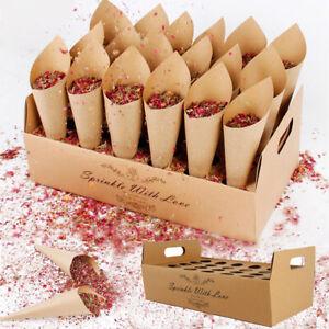 Confetti Wedding Cone Tray Holder Stand Box Kraft Paper Rustic Favour Decoration