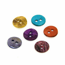 144pcs Colorful Natural Mother of Pearl Buttons Flat Round 2 Hole Craft 10x1mm