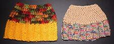 Lot of 2 Hand Crochet Tan & multi/ Gold & Multi Color Messy Bun Hat (HT 87)