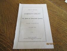 ORIGINAL 1877 YALE COLLEGE 177TH COMMENCEMENT PROGRAM