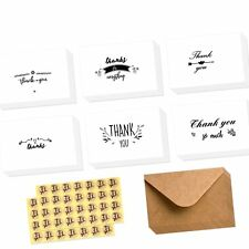 48-Pack White Folded Card Style Greeting Thank You Cards With Kraft Envelopes