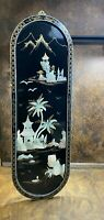 Vintage Japanese MOP Black Lacquer Wall Panel Art ~ Mother of Pearl Asian decor