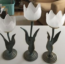 3 Pc. Vintage Frosted Glass Tulip Flower Tealight Candle Holders Metal Brass Bas