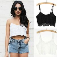 Womens Ladies Sexy Lace Strappy Vest Bralet Bra Crop Top Party Bodycon Top Cami