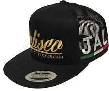 JALISCO FUERTE Y PODEROSO MEXICO HAT 2 LOGOS [SIN] BLACK MESH TRUCKER SNAP BACK