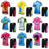 Kids Cycling Jersey & Padded Shorts Kit Boys Girls Children Cycling Clothes Set
